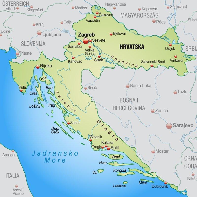 Chorwacja Polozenie Mapa Flaga Stolica Turystyka