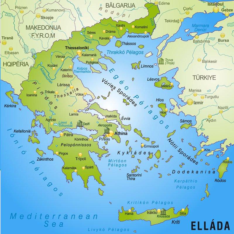 Grecja Polozenie Mapa Flaga Stolica Wyspy