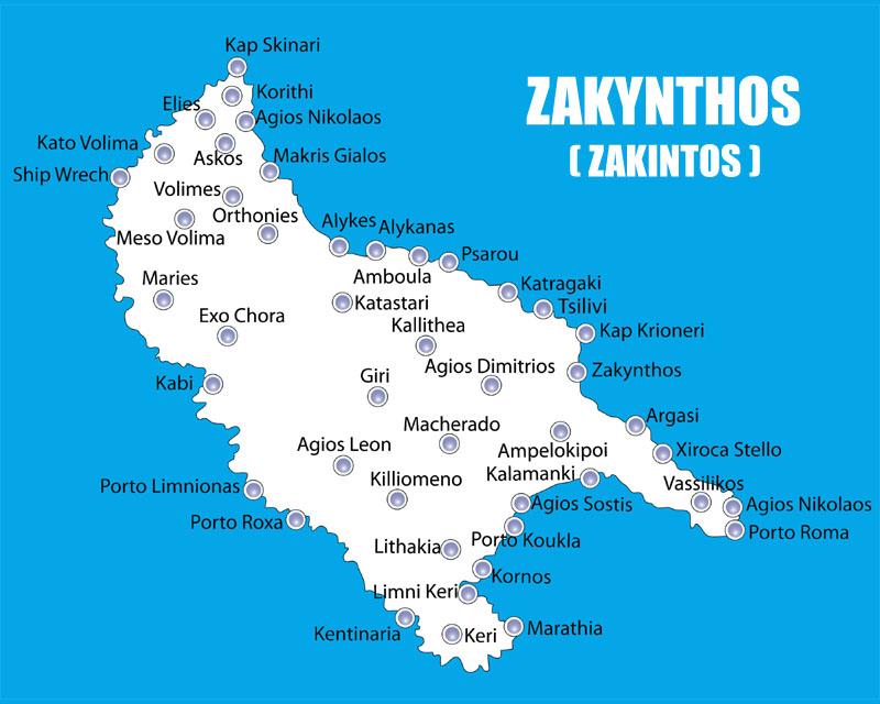 Wyspa Zakynthos Mapa Atrakcje Plaze Co Warto Zobaczyc